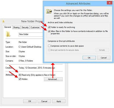 Windows File Attributes of the selected item