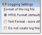 Logging Settings Window Expanded Options: click to enlarge