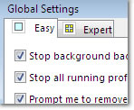 Global Easy Settings window: click to enlarge