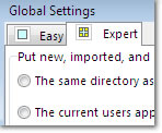 Global Expert Settings Window: click to enlarge