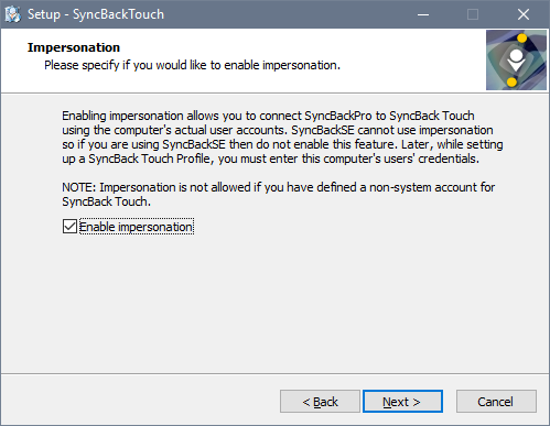 SyncBack Touch imperstonation installation